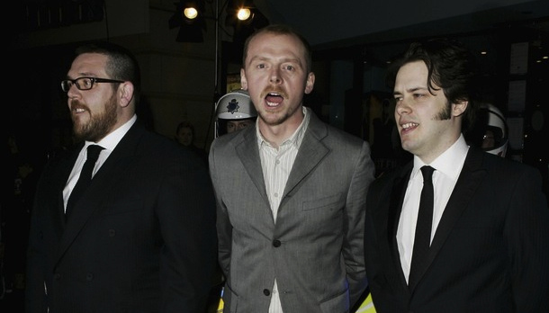 Simon Pegg and Edgar Wright (middle, right) appeared sans usual collaborator, Nick Frost (left).